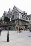 自由街角的,第茂,法国半木料半灰泥的房子 库存图片