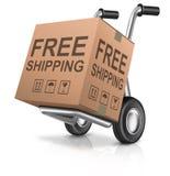 自由运输纸板箱包裹 库存图片