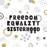 自由,平等,在手拉的传染媒介上写字的妇女团体 皇族释放例证