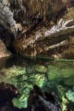 自由Demanovska洞的地下湖  免版税库存图片
