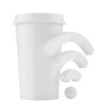 自由Wi-Fi区域 有无线信号的杯 3d翻译 库存图片