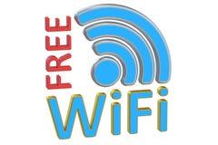自由Wi-Fi概念, 3D翻译 免版税库存图片