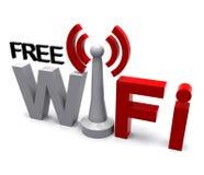 自由Wifi互联网符号显示覆盖范围 库存照片