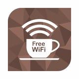 自由wifi区域、象概念咖啡馆的或咖啡店在多角形样式背景,抽象几何背景 库存例证