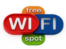 自由WiFi斑点徽章 图库摄影
