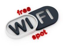 自由WiFi斑点徽章 库存照片