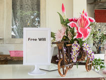 自由wifi标志和花与拷贝空间 免版税库存照片