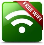 自由wifi绿色正方形按钮 免版税库存照片