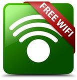 自由wifi绿色正方形按钮 库存照片