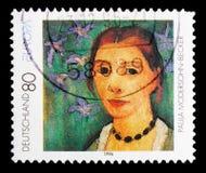 自画象宝拉Modersohn贝克尔1876-1907,欧罗巴C e P T 1996 - 著名妇女serie,大约1996年 免版税库存图片