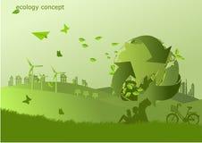 自行车、风车和太阳电池板在草,不伤环境的世界 生态的传染媒介例证 库存照片