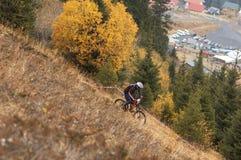 自行车下坡山 免版税库存图片