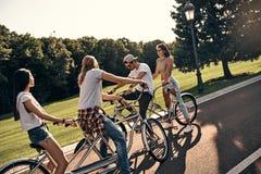 自行车乘驾的了不起的天 库存照片