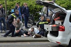 自行车事故关闭viiew 免版税图库摄影