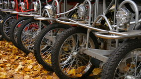 自行车停车处在秋天天 股票视频