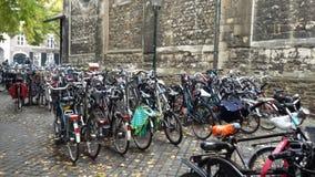 自行车停车处在马斯特里赫特 图库摄影