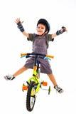 自行车儿童循环的竞争优胜者 免版税库存照片