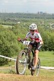 自行车冠军欧洲山 库存照片