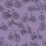 自行车剪影无缝的样式 库存例证