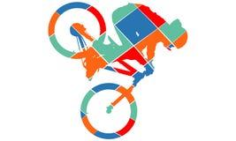 自行车剪影流行艺术样式 库存照片