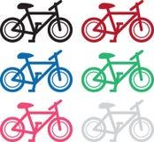 自行车剪影颜色 免版税库存图片