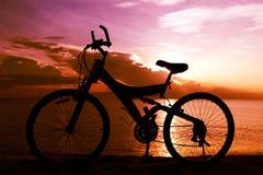 自行车剪影 库存照片