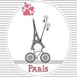 巴黎自行车卡片 免版税库存图片