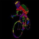 自行车印刷术词云彩五颜六色的传染媒介例证 免版税库存图片