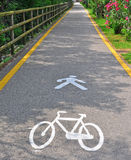 自行车和步行者区域 库存照片