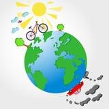 自行车和汽车在行星接地传染媒介例证 免版税库存照片