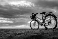 自行车和看法早晨 Samila海滩宋卡 库存图片