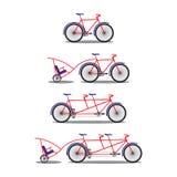 自行车和纵排自行车 各种各样的种类 免版税图库摄影