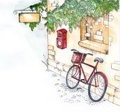 自行车和邮箱 免版税库存图片