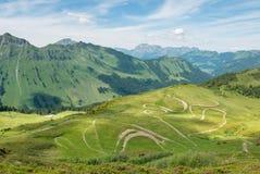 绕自行车在夏天阿尔卑斯, Champery落后 库存照片