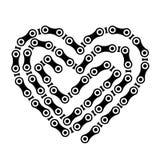 自行车在白色背景传染媒介隔绝的链子心脏 向量例证