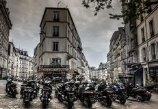 自行车在老城市,巴黎 免版税库存图片