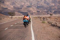自行车在西奈离开与沙子和太阳 库存照片