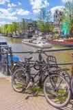 自行车在阿姆斯特丹,荷兰。 库存照片