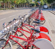 自行车在巴塞罗那 库存图片