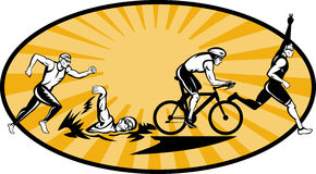自行车奥林匹克运行游泳三项全能 库存照片