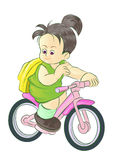 自行车女孩去骑术学校 库存照片