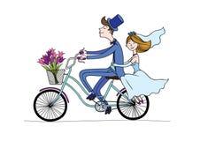自行车婚礼 免版税库存照片