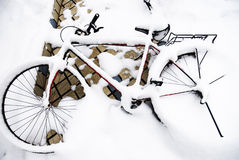 自行车孤立行 免版税图库摄影