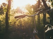 自行车手马鞍室外夏天草甸调遣日出 库存照片