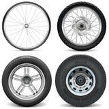 自行车摩托车汽车和卡车的传染媒介轮胎 免版税库存照片