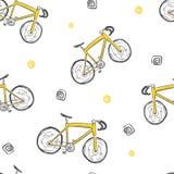 自行车无缝的乱画样式,手拉的传染媒介 免版税库存图片