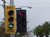 自行车横穿的绿灯 图库摄影