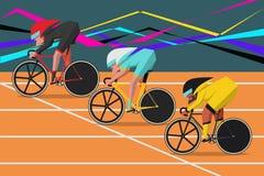自行车比赛漫画人物设计平的样式 免版税图库摄影