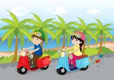 自行车沿海乘驾 向量例证