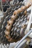 自行车生锈derailleur的后方 库存图片